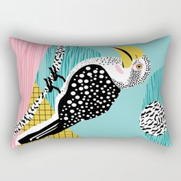 What - memphis tropical retro neon throwback 1980s 80s style hipster abstract bird vacation nature Rectangular Pillow