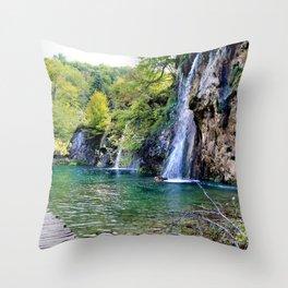 Waterfall in Croatia Large Throw Pillow