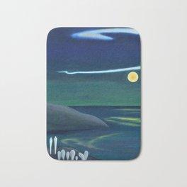 Island Moon before the World coastal island landscape painting by Marguerite Blasingame Bath Mat