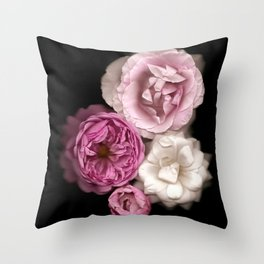 Purple, Pink, and White Roses Throw Pillow
