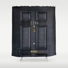 Haunted black door with 221b number Shower Curtain
