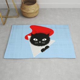"""Lovable Modern Cat"" in Pale Blue Rug"