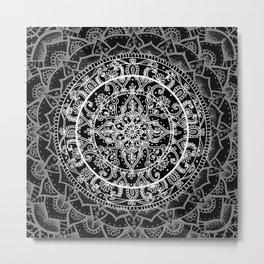 Detailed Black and White Mandala Pattern Metal Print
