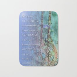 Serenity Prayer Blue Green Fence and Weeds Bath Mat