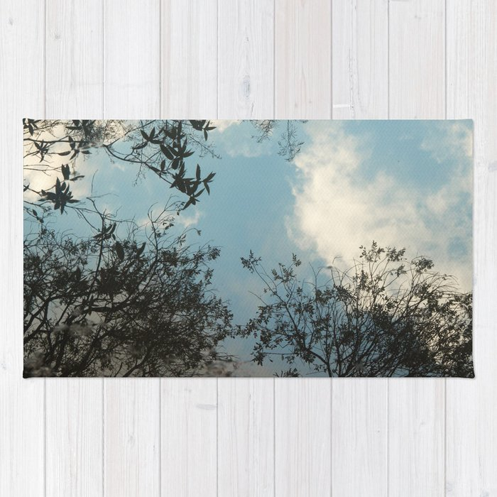 Trees and clouds reflected Rug