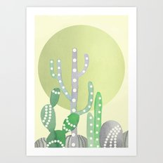 BOHO CACTUS IN MINT Art Print