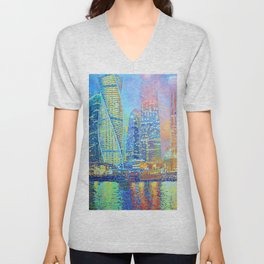 The Temple of St. Seraphim of Sarov in Moscow City Unisex V-Neck