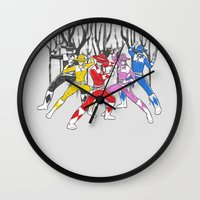 power rangers Wall Clocks featuring Mighty Morphing Lone Rangers by Jonah Makes Artstuff