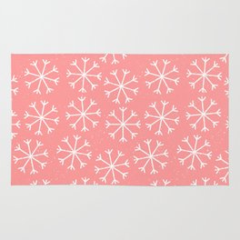 Modern hand painted coral white Christmas snow flakes Rug