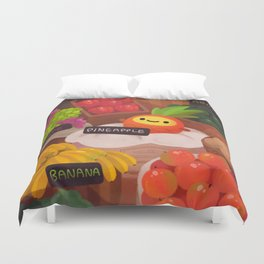 Pineapple NANA in the market Duvet Cover