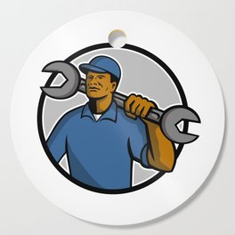 African American Mechanic Mascot Cutting Board