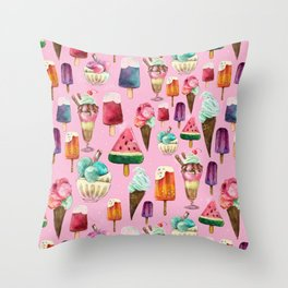 ice-cream pattern Throw Pillow