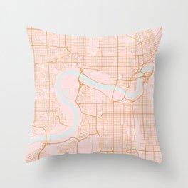 Edmonton map, Canada Throw Pillow