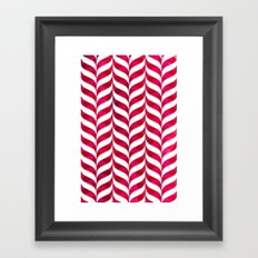 Red Leaf Herringbone Framed Art Print