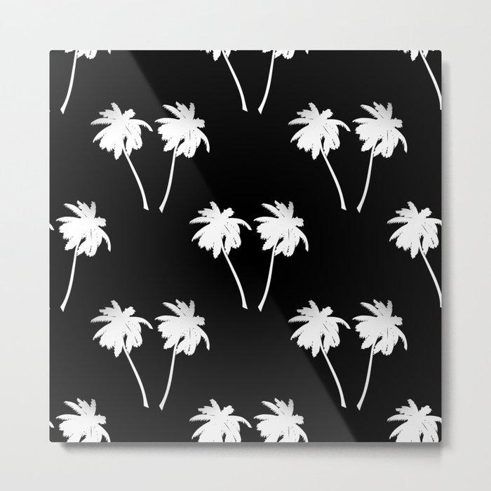 Palm Trees Tropical Night Metal Print