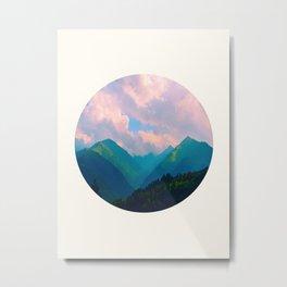 Mid Century Modern Round Circle Photo Graphic Design Colorful Pastel Mountain Landscape Metal Print
