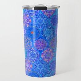 Boho Eye Blue Pattern Hand Drawing Travel Mug