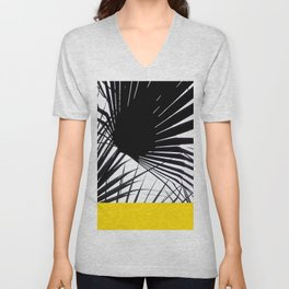 Black and White Tropical Palm Leaves on Sunny Yellow Unisex V-Neck