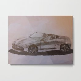 Vintage Auto Pencil Drawing Metal Print