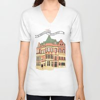 archer V-neck T-shirts featuring Archer Avenue by Nan Lawson