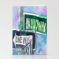 broadway Stationery Cards featuring Broadway Sign by Dorrie Rifkin Watercolors