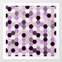 hexagon purple Art Print