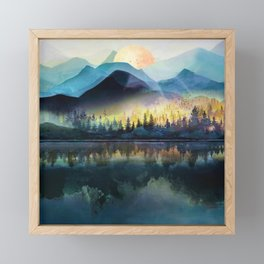 Mountain Lake Under Sunrise Framed Mini Art Print