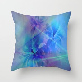 Soft  Colored Floral Lights Beams Abstract Throw Pillow