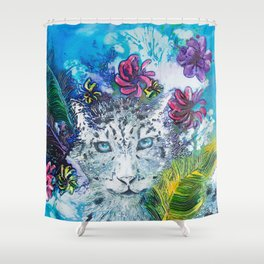 Queen Snow Leopard Shower Curtain