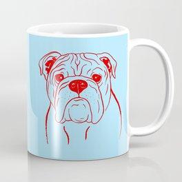 English Bulldog (Light Blue and Red) Coffee Mug