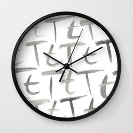 Watercolor T's - Grey Gray Wall Clock