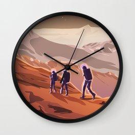 Hiking on Mars Wall Clock
