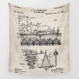Brewing Beer Patent - Beer Art - Antique Wall Tapestry