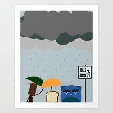 Rainy day at the bus stop Art Print
