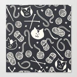 Cats LOVE Yarn! in Grey Canvas Print