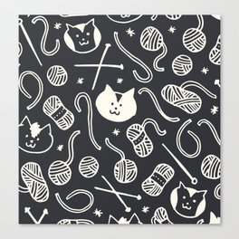 Cats LOVE Yarn! in Grey Canvas Print