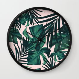 Tropical Jungle Leaves Pattern #5 #tropical #decor #art #society6 Wall Clock