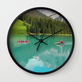 Boats on Emerald Lake Wall Clock