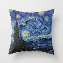 Classical Masterpiece 'Starry Night' by Vincent van Gogh Throw Pillow