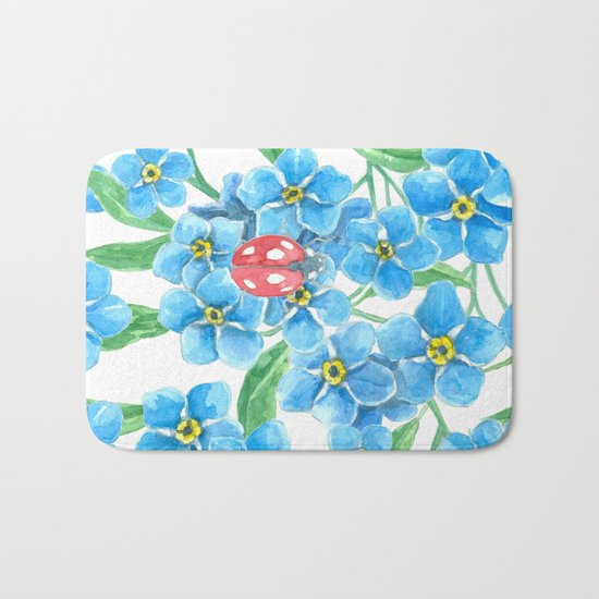 Forget me not seamless floral pattern Bath Mat