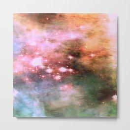 Colorful Pink Sparkle Carina Nebula Abstract Metal Print