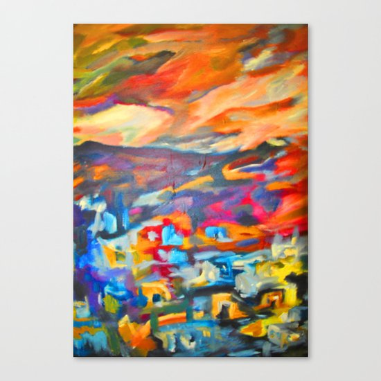 My Village | Colorful Small Mountainy Village Canvas Print