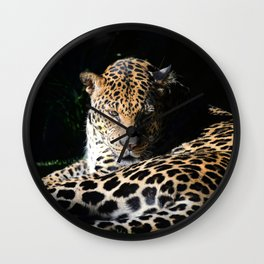 Pensive Leopard Considering Its Options Wall Clock