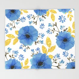 Blue flowers with golden leaves Throw Blanket