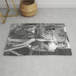 Italian Starlet Scilla Gabel black and white portrait photograph / art photography Rug