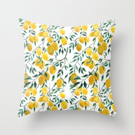 watercoor yellow lemon pattern Throw Pillow