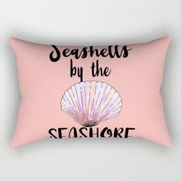 Watercolor Seashells by the Seashore Typography Rectangular Pillow