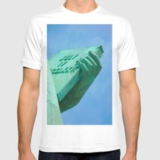 Statue of Liberty carrying the American Declaration of Independence -New York City White SMALL Mens Fitted Tee