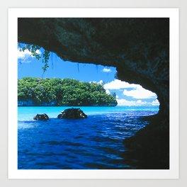 Exotic Palau Islands: View From Treacherous Ocean Cave Art Print