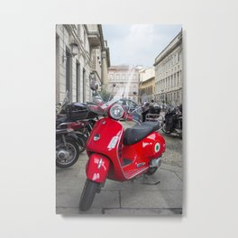Red Vespa in Milan, Italy Metal Print